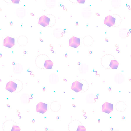 Gradient geometric cubes on white background Иллюстрация