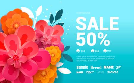 Spring Sale Banner with leaf and colorful flowers. Vector Design for your greetings card, flyers, web banner.