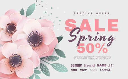 Spring sale with beautiful hand drawn flowers. Vector illustration banner.