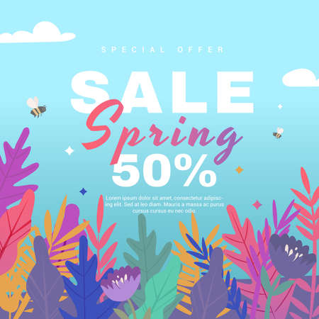 Spring sale banner with paper flowers on a blue background. Banner perfect for promotions, magazines, advertising, web sites. Vector illustration. Иллюстрация