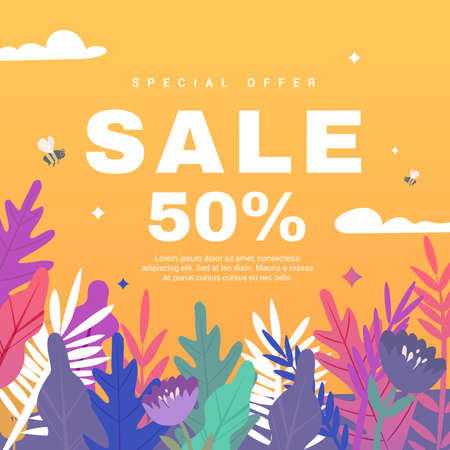 Spring sale banner with paper flowers on a orange background. Banner perfect for promotions, magazines, advertising, web sites. Vector illustration.