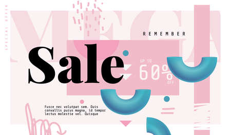 Mega Sale Banner in Contemporary Style. Vector Illustration.