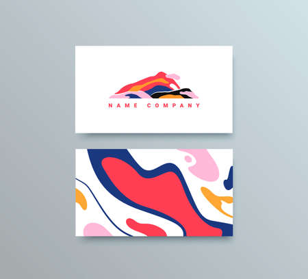 Colorful Mountain Logo Template. Vector Buisness Card for Travel Company
