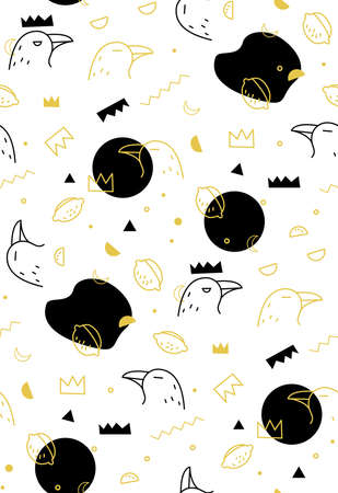 Seamless vector pattern of raven on white background. Decorative texture of crow and crown.
