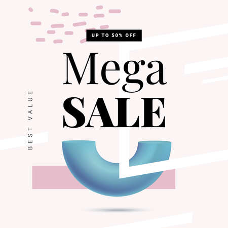 Mega sale offer banner template in trendy memphis style, retro 80s - 90s paper style vector illustration Иллюстрация