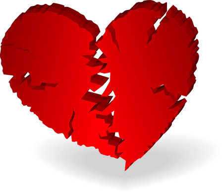 3D Broken Heart Vector