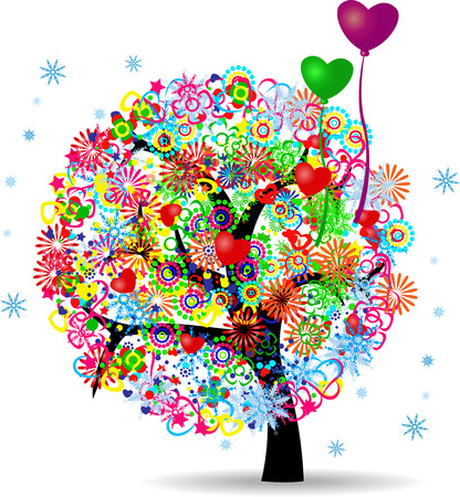 The Tree Of Life With Balloons Vector