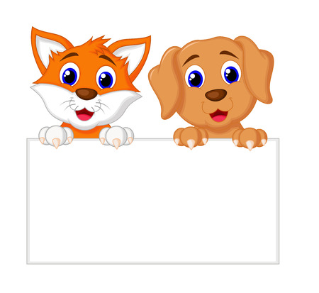 Cat And Dog With Paper Vector