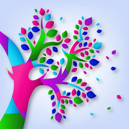 colorful tree: Colorful Tree Sign Illustration