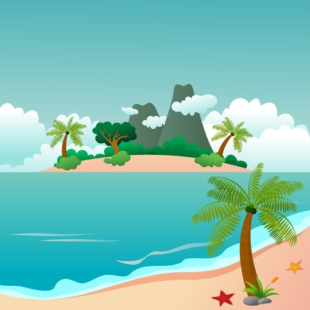 Paradise Island and Beautiful Beach Landscapes Vector
