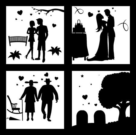 True Love Until Death Silhouette Vector