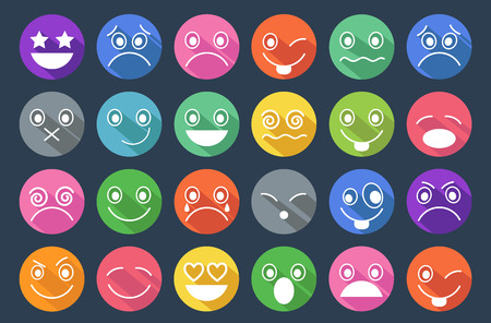 crazy face: Smiley Icons Flat Design Illustration