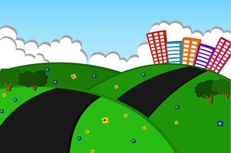 city scene: Beautiful City On The Green Hills Applique