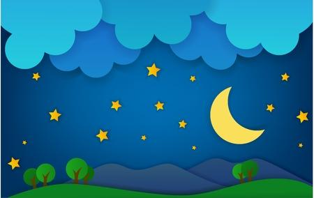 Mountain At Night Fantasy Landscape Illustration