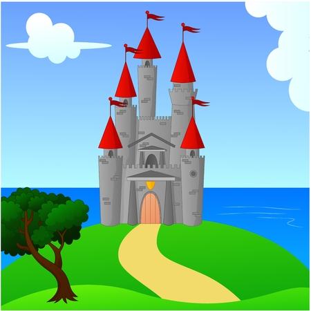 bucolic: Grande Castello Medievale On The Hill Paesaggio
