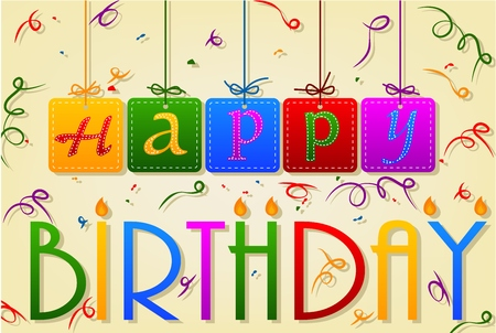 stitching: Happy Birthday Tag stitching Card With Ribbon