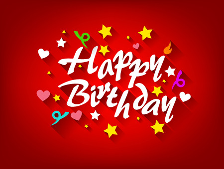 Happy Birthday Karte mit Stern, Herz und Band Standard-Bild - 41636444