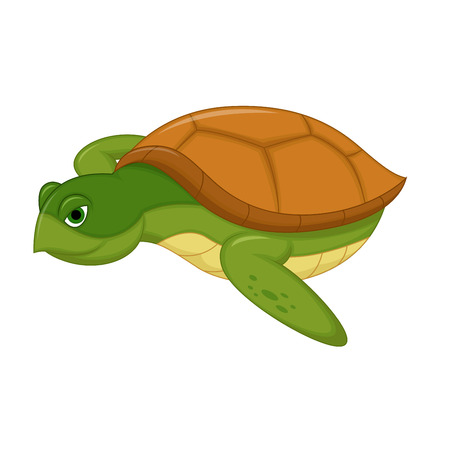 sea turtle: Sea Turtle Swiming Cartoon Illustration