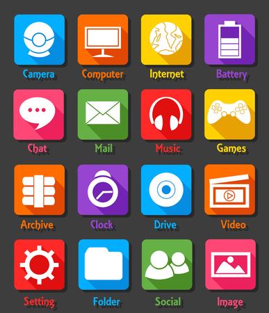 video icons: Computer Desktop Flat Design Icon Set