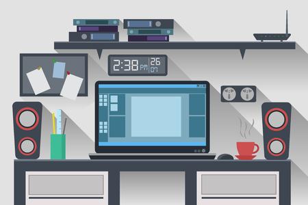 personal development: Workspace Office Computer Creative Flat Design