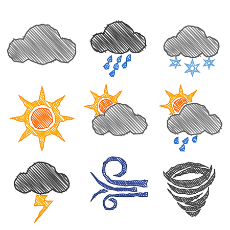 snow storm: Weather Icon Pen Shading Effect Sets