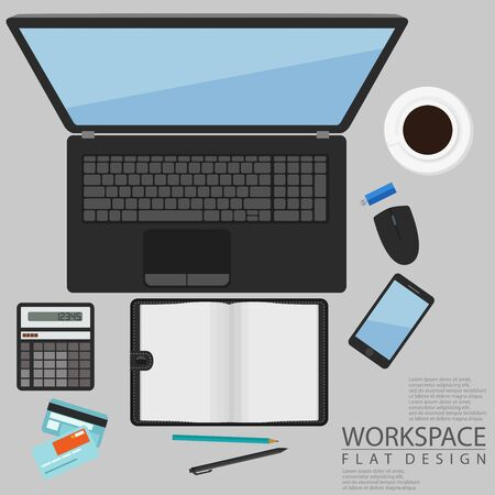 hard drive: Office Workspace Computer Top View Flat Design Illustration
