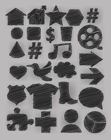effect: Tag icon pen shading effect set Illustration