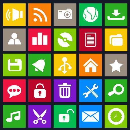 Computer icon metro stijl set
