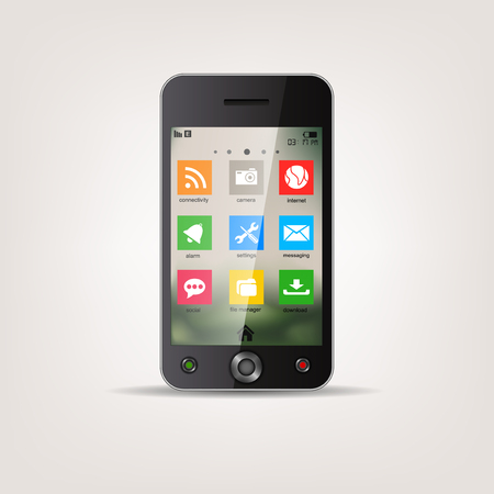 touchscreen: Touchscreen Mobile phone with metro style Icon menu