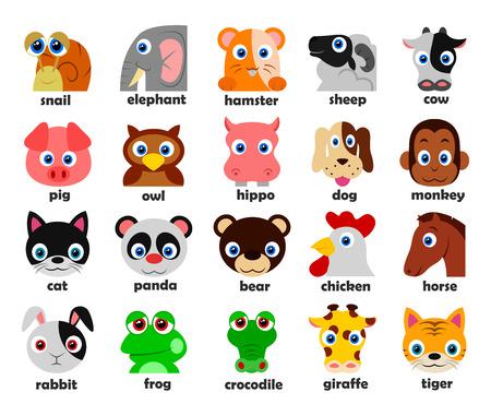 animales safari: Cabezas de animales divertidos fijados Ilustración vectorial Vectores