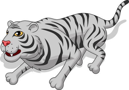 aggresive: Aggresive white tiger cartoon Illustration
