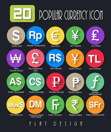 currency symbols: 20 Popular Currency Symbols Flat Design