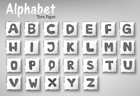 Alphabet Letters Torn Paper Design Set