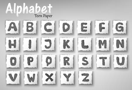 clippings: Alphabet Letters Torn Paper Design Set