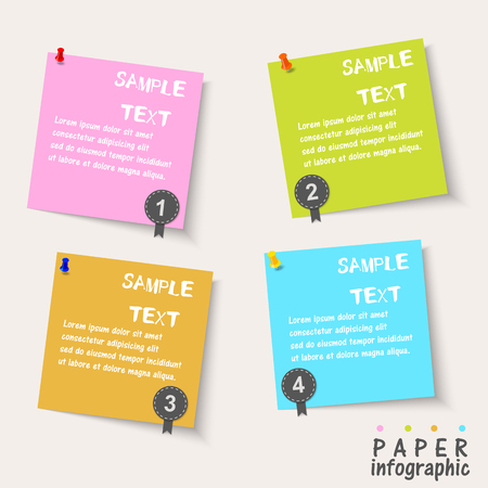 Four Paper Flow Chart info graphic elements