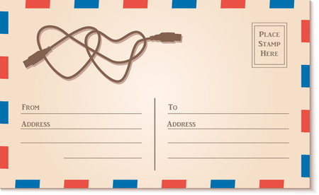 postcard template: Vintage Letter Postcard Template