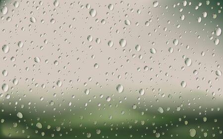 condensacion: Gota de agua sobre el vidrio con el desenfoque de la naturaleza de fondo