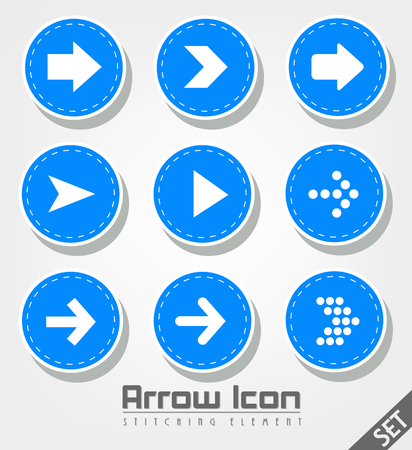 orientation marker: Stitched Arrow Icon Flat Design