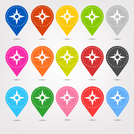 mapping: Colorful Stitched Location Mapping Pins Icon Sets Illustration