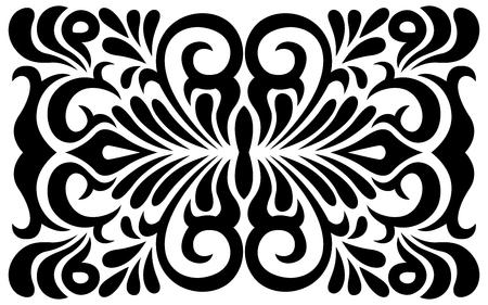 batik: Ornement tourbillonnant noir et blanc