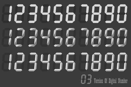 Digital Number italic sets, three version of digital number Illustration