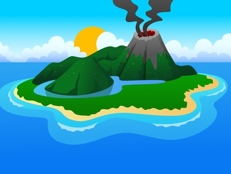volcanos: volcanos and a small lake in a beautiful island