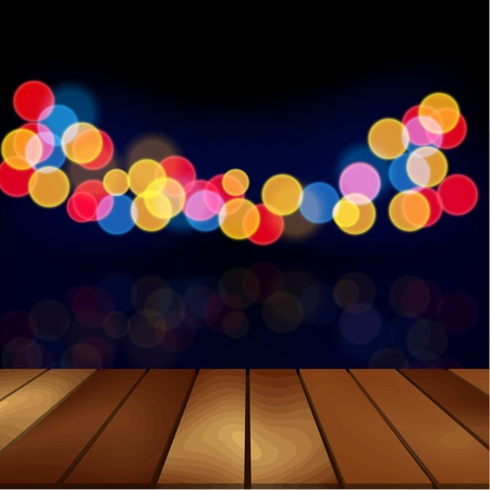 balcony view: Wood floor and blurred night scene background