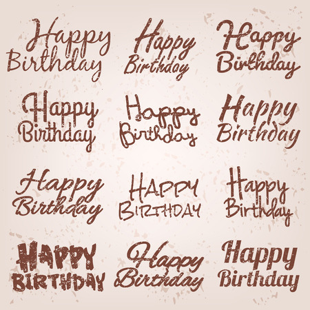 happy birthday text: Set of Happy Birthdays vintage text