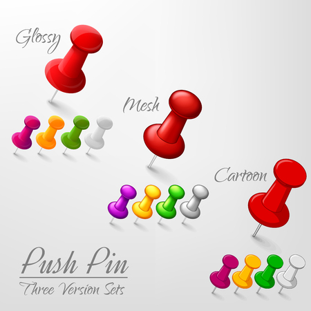 push in pins: Set of push pins in different versions