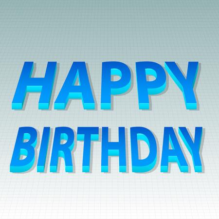 3d text: Happy Birthday bending 3d text style Illustration