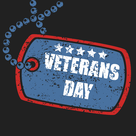 Military dog tag stamp of veterans day Illustration