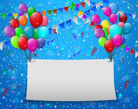 Flying balloons with paper and place for text blue background