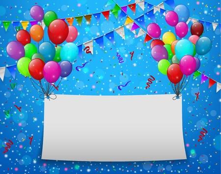 Vliegende ballons met papier en plaats voor tekst blauwe achtergrond