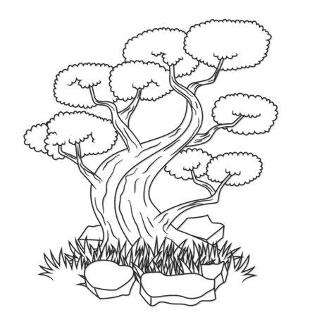 bonsai tree: Beautiful bonsai tree isolated tattoo Illustration